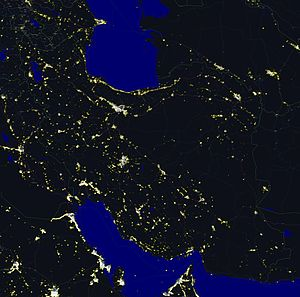 Geography of Iran - Iran at night
