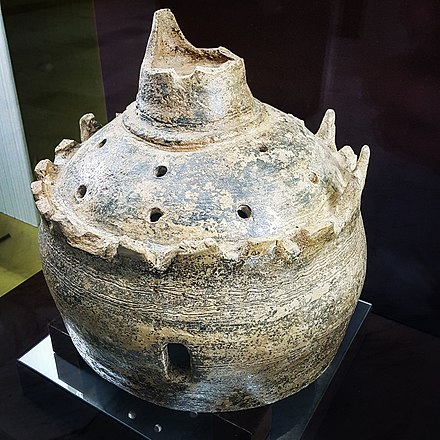 A pot discovered in the Iron Age building of Bidaa Bint Saud, Al Ain on display at the Al Ain National Museum. It is thought to be an incense burner. Iron Age Pot From Bidaa Bint Saud.jpg