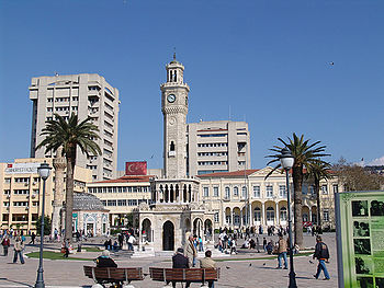Clock tower in Konak Square, iconic symbol of the city