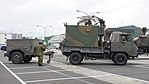 JGSDF Type 73 chugata truck(08-0080) with JS-P5 shelter & JK-2 power supply trailer(78-5031) of JTPS-P9 radar unit(driving mode) right side view at JMSDF Maizuru Naval Base July 29, 2017.jpg