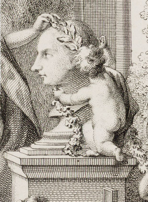 Jacob Otten Husly - Detail of allegorical portrait of Husly by Reinier Vinkeles in 1765