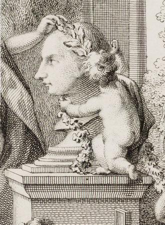 Jacob Otten Husly - Detail of allegorical portrait of Husly by Reinier Vinkeles in 1765