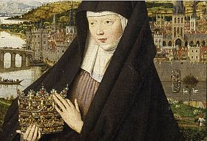 Madonna of Jan Vos - Detail showing Elizabeth and cityscape with swans