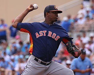 Jandel Gustave - Gustave pitching for the Houston Astros in 2016 spring training