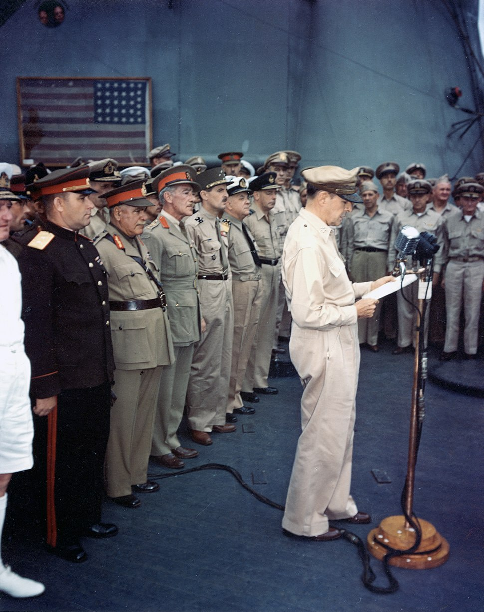 Japanese-surrender-mac-arthur-speaking-ac02716
