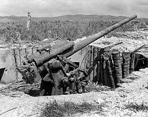 Type 10 120 mm AA gun - A damaged dual purpose 120 mm gun from a four gun battery on Guam.
