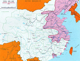 En rose : zones occupées par l'Empire du Japon en 1940.
