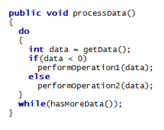 Java syntax - A snippet of Java code with keywords highlighted in bold blue font
