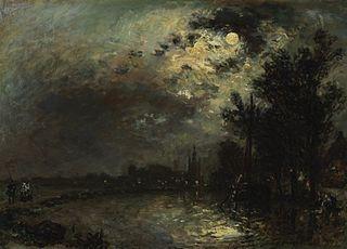 View on Overschie in Moonlight