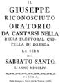 Johann Adolph Hasse - Il Giuseppe riconosciuto - italian titlepage of the libretto - Dresden 1754.png