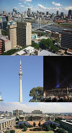 Clockwise: View of Johannesburg CBD from Braamfontein, FNB Stadium (Soccer City), The Wits University East Campus, and the Sentech Tower.