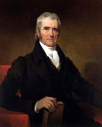 Chief Justice John Marshall established a broad interpretation of the Commerce Clause. John Marshall by Henry Inman, 1832.jpg
