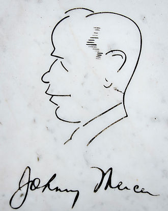 Johnny Mercer - Self-portrait and signature of Johnny Mercer from bench at his grave in Bonaventure Cemetery in Savannah, Georgia.
