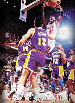 Michael Jordan v Los Angeles Lakers at the 1991 NBA Finals Jordan vs lakers nba finals 1991.jpg