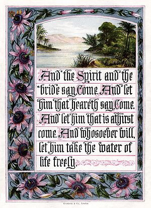 George Baxter (printer) - Joseph Martin Kronheim's illustration of Revelation 22:17. Shiny silver ink surrounds the flowers, a very light blue ink is used for the sky, and several types of printing are combined, with the various inks using different methods.
