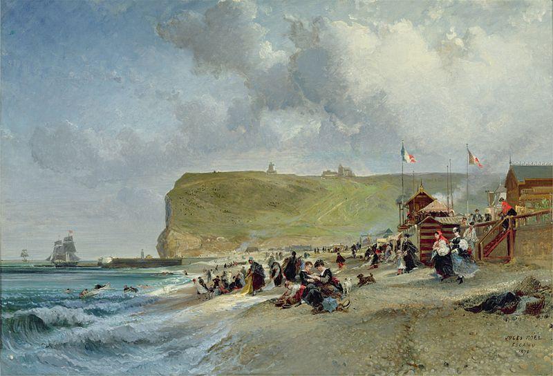 Fichier:Jules Achille Noël - Crinolines sur la plage, Fecamp (1871).jpg