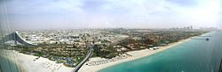 Aerial view of Jumeirah from the برج العرب.