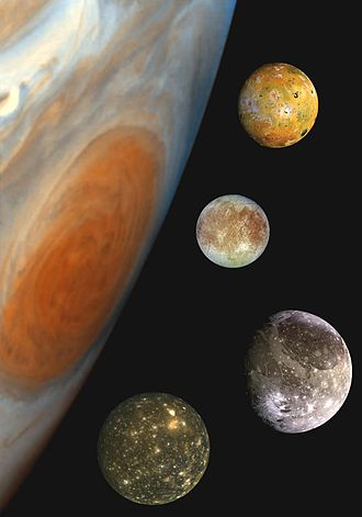 Galilean moons - Montage of Jupiter's four Galilean moons, in a composite image depicting part of Jupiter and their relative sizes (positions are illustrative, not actual). From top to bottom: Io, Europa, Ganymede, Callisto.