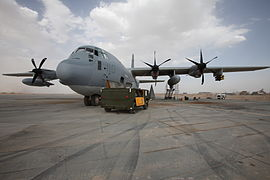 KC-130J Harvest Hawk (front) at Camp Dwyer Afghanistan 2011