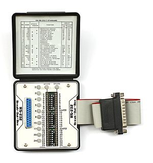 Breakout box - Example of a pocket-sized RS-232 breakout box that features switches to reconfigure or patch any or all the active circuitry. This unit has one DB25 male and one DB25 female RS-232 connector