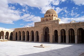 Religion in Africa - The Great Mosque of Kairouan, erected in 670 by the Arab general Uqba Ibn Nafi, is the oldest mosque in North Africa. Kairouan, Tunisia.