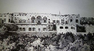 National Museum of Beirut - 19th century engraving of the Kaiserswerth deaconesses building in Beirut