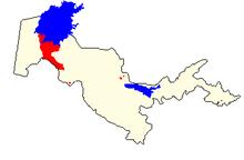 Mapo montranta lokojn de la karakalpaka (blue kaj ruĝe) ene de Uzbekio