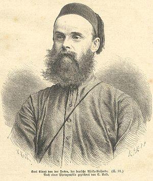 Karl Klaus von der Decken - Karl Klaus von der Decken, woodcut by C. Kolb 1874