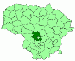Location of Kaunas district municipality within Lithuania