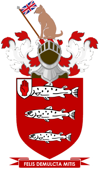 Keane baronets - Arms: Gules three Salmon naiant in pale Argent; Crest: A Cat-a-Mountain sejant proper supporting in his dexter paw a Flagstaff thereon a Union Jack proper; Motto: Felis Demulcta Mitis (The stroked cat is gentle)