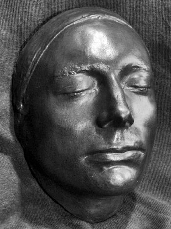 English: John Keats life mask by Benjamin Robe...