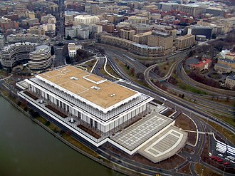 John F. Kennedy Center for the Performing Arts - The Kennedy Center as seen from the air. A portion of the Watergate complex can be seen at the left