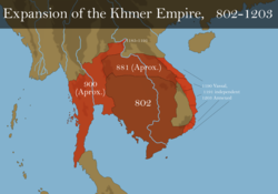 Map of the expansion of the Khmer Empire, 802–1203
