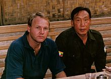 Khun Sa with Australian journalist Stephen Rice, April 1988.