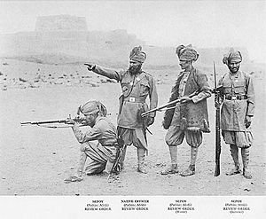 Khyber Rifles - An officer of the Khyber Rifles giving orders to his sepoys in 1895.