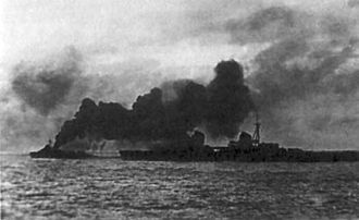 Soviet evacuation of Tallinn - Soviet cruiser Kirov protected by smoke during evacuation of Tallinn in August 1941.