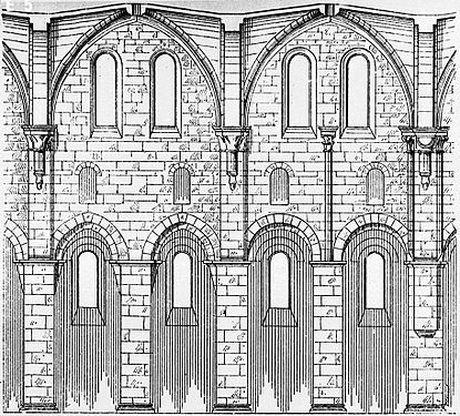 This Nave Elevation Of Arnsburg Abbey Germany Shows The Typical Arrangement Arcade Aisle Clerestory Windows And Ribbed Vault