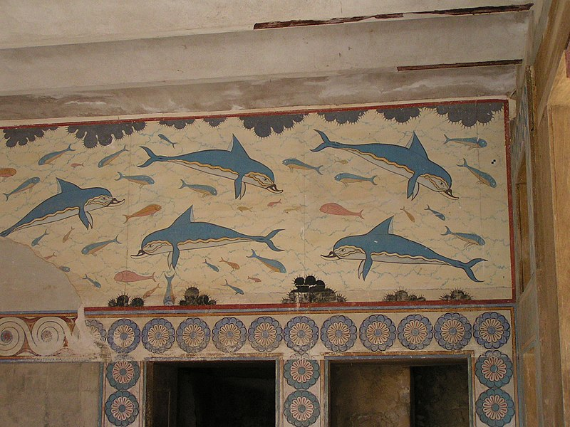 Datei:Knossos fresco of dolphins in queen's palace.JPG