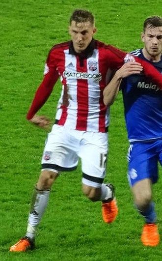 Konstantin Kerschbaumer - Kerschbaumer (left) playing for Brentford in 2015.