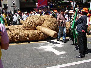Juldarigi - A juldarigi rope knotted around a binyeomok at the Hi! Seoul Festival