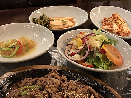 Bulgogi and side dishes Korean barbecue and side dishes.jpg