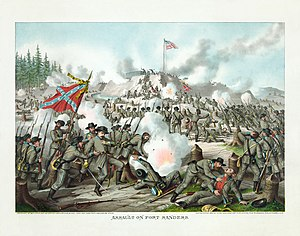 Battle of Fort Sanders - Assault on Fort Sanders, by Kurz and Allison, 1891.