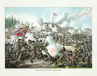 Battle of Fort Sanders - Assault on Fort Sanders, by Kurz and Allison, 1891.