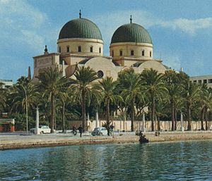 English: A view of the Cathedral of Benghazi, ...