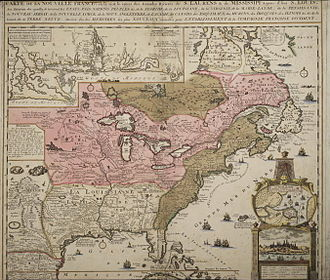 Louisiana (New France) - Lower Louisiana in the white area - the pink represents Canada - part of Canada below the great lakes was ceded to Louisiana in 1717.  Brown represents British colonies (map before 1736)