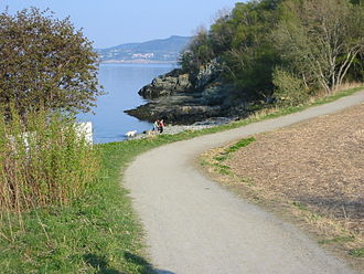 Lade, Trondheim - View of the Ladestien, the walking path along the fjord in Lade