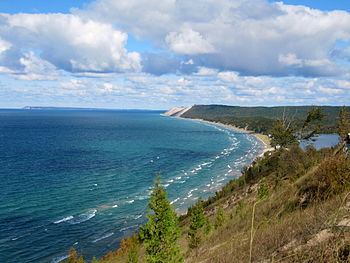 Empire Bluffs Trail view of Sleeping Bear Dunes.