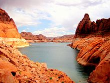 The red-rock shores of Lake Powell, seen at a low water level.