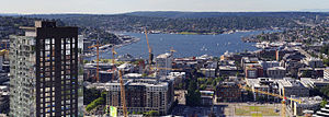 Lake Union - A large number of construction cranes can be seen around Lake Union in June 2015.
