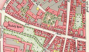Landemærket - Landemærket seen on a detail from Gedde's district map